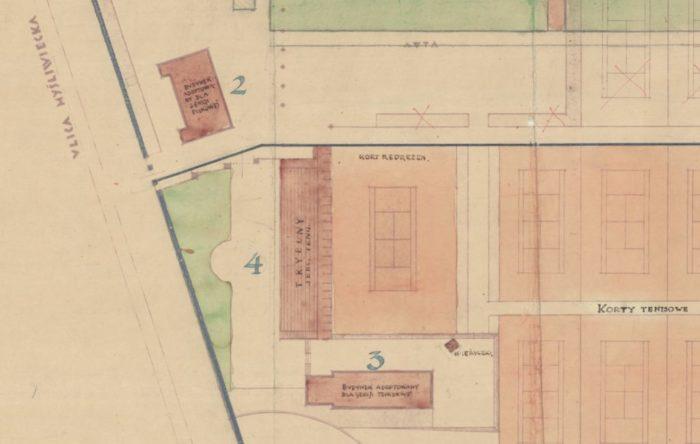 Nr 2 - Budynek sekcji piłkarskiej, 3- Budynek sekcji tenisowej, 4- trybuny przy korcie centralnym