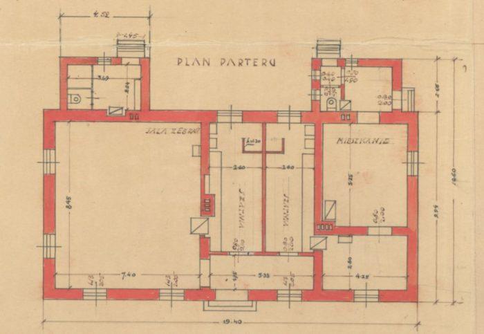 Plan pomieszczeń budynku sekcji piłki nożnej
