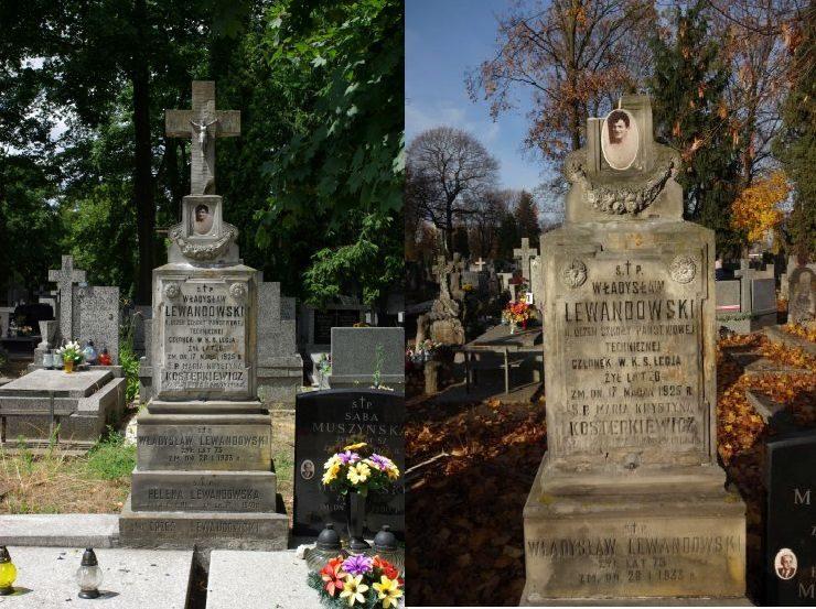 Jeszcze niedawno grób Władysława Lewandowskiego wyglądał jak na fotografii z lewej strony. Niestety wichura w tym roku uszkodziła krzyż z kamienia łamiąc jednocześnie nasadę u szczytu pomnika. Stan obecny widoczny jest na zdjęciu z prawej strony.