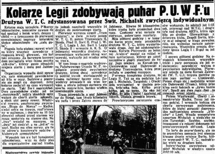 Artykuł z Przeglądu Sportowego z 6 maja 1933 r. dotyczący opisywanego wyścigu (Zbiory BUW)