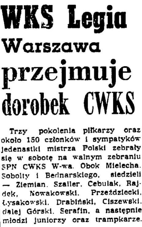Informacja z Przeglądu Sportowego z 27.01.1957, w dzień po zebraniu Sekcji Piłkarskiej