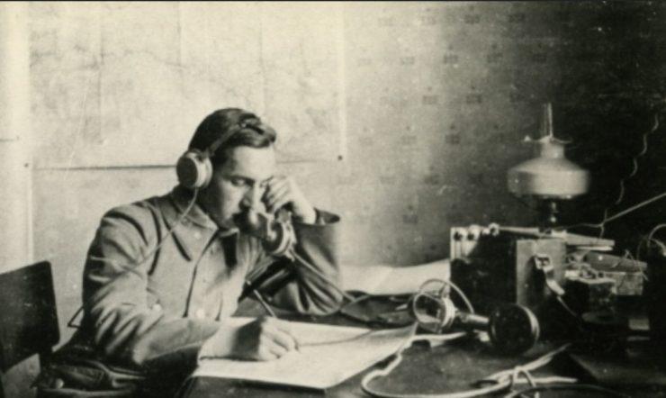 Tadeusz Tyrowicz, współautor pamiętnika, piłkarz Legii w latach 1916-1917. Na zdjęciu podczas służby w Kompanii Telefonicznej Legionów Polskich.