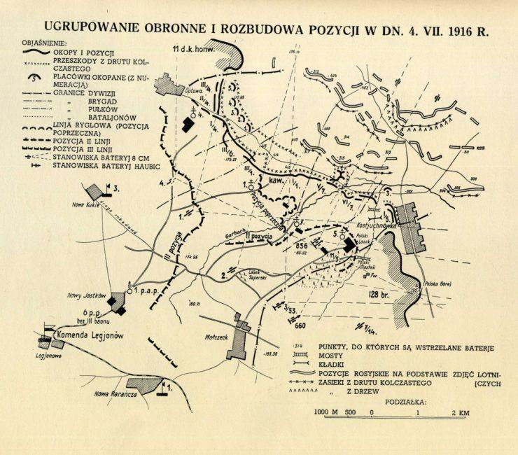 Przebieg początkowej fazy bitwy pod Kostiuchnówką. Na mapie oznaczono Na mapie oznaczono między innymi legionowe obozy: Legionowo, Nowy Jastków, Nowe Kukle, Rojowe Osiedle pod Optową i Nową Rarańczę