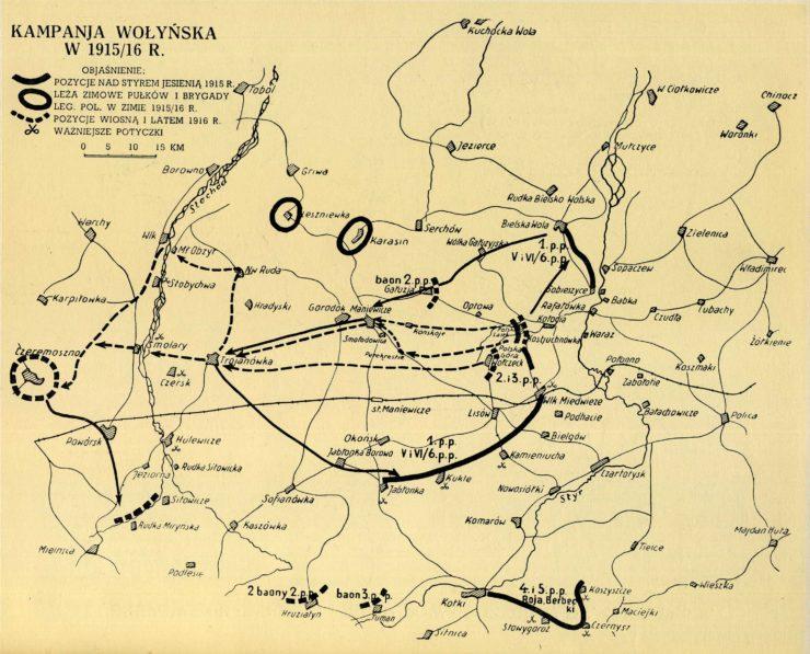 Mapa okolic Kostiuchnówki z zaznaczonymi miejscowościami i kierunkami wycofania się Legionów na linię Stochodu