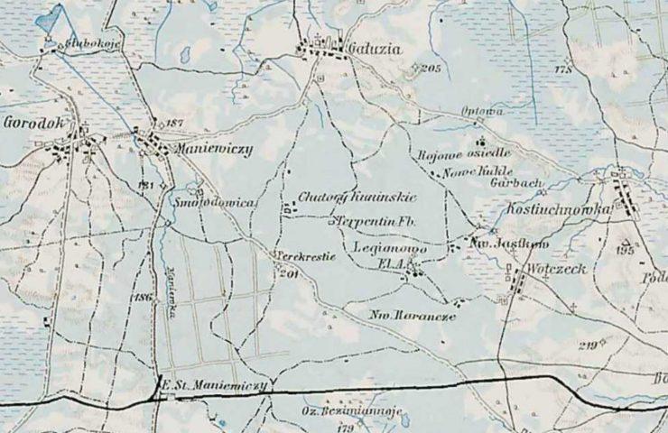 Fragment mapy Wołynia okolic Kostiuchnówki z ówczesnymi nazwami miejscowości a także rozlokowaniem obozów legionistów
