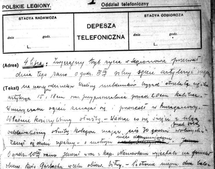 Strona z dziennika braci Stanisława i Tadeusza Tyrowiczów pisana na formularzach depesz telefonicznych