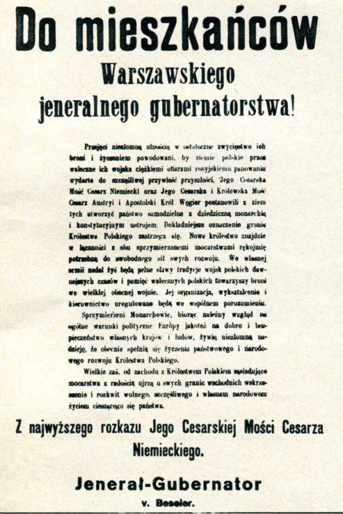 Obwieszczenie z treścią Aktu 5 listopada przygotowane przez Niemców i rozplakatowywane na ulicach Warszawy w listopadzie 1916 r.
