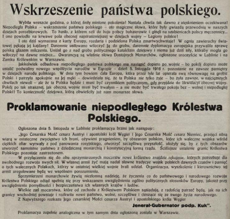 Notatka z Nowości Ilustrowanych informująca o proklamacji Królestwa Polskiego