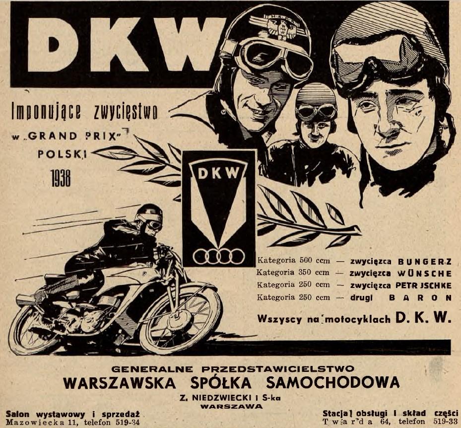 Reklama DKW, zwycięskiej ekipy fabrycznej Grand Prix Polski 1938
