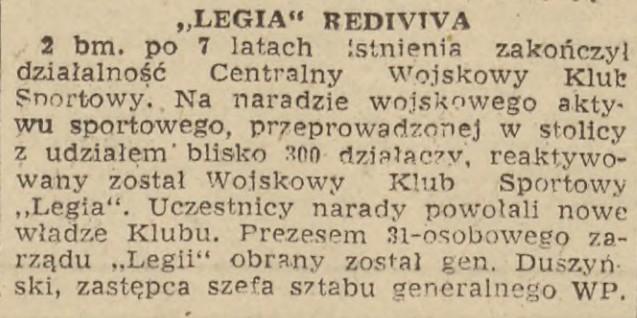 Informacja zamieszczona w Życiu Warszawy o powrocie Legii