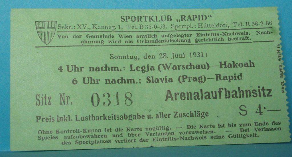 Bilet na pierwszy dzień meczowy turnieju w Wiedniu.
